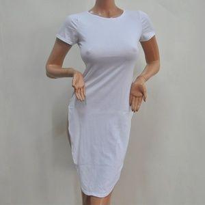 White Fit Jumperskirt Evening Party SLING Short Sleeve Cotton  0-neck Slim Dress